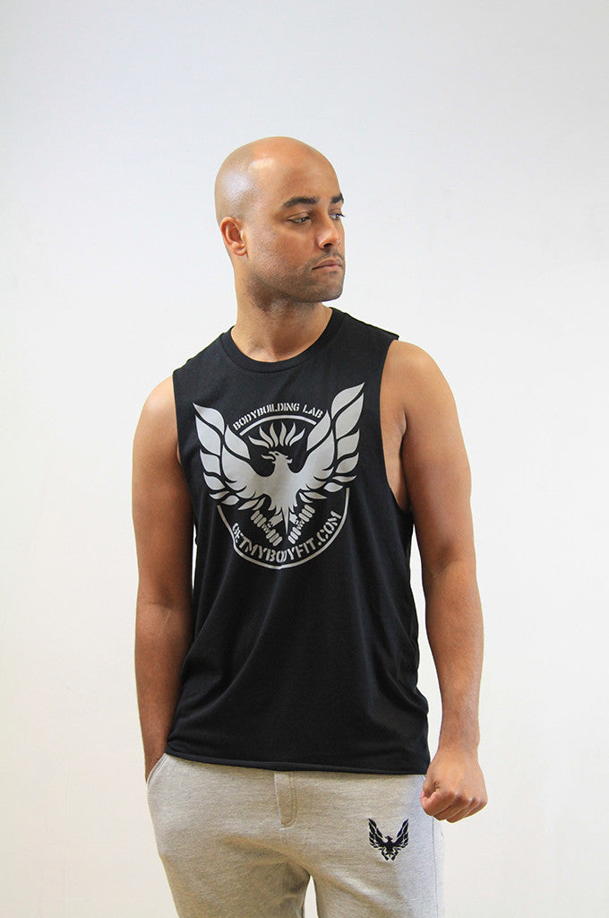 Black mens slash arm hole gym vest by getmybodyfit
