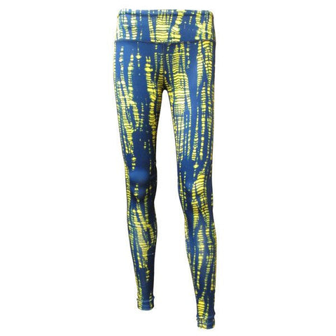 Team Tights Shibore Tie Dye - Navy/Ylw