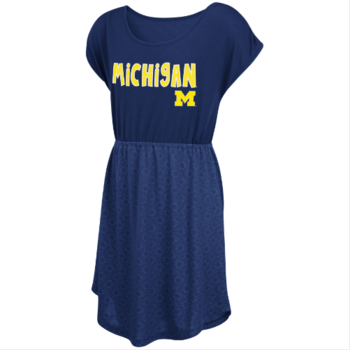 Michigan Girls Daisy Dot Dress - Navy