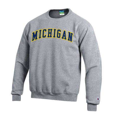Champion Michigan Tackle Twill Powerblend Crew - Heather Grey