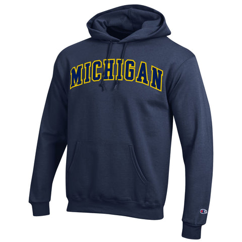 Champion Michigan Tackle Twill Reverse Weave Hood - Navy