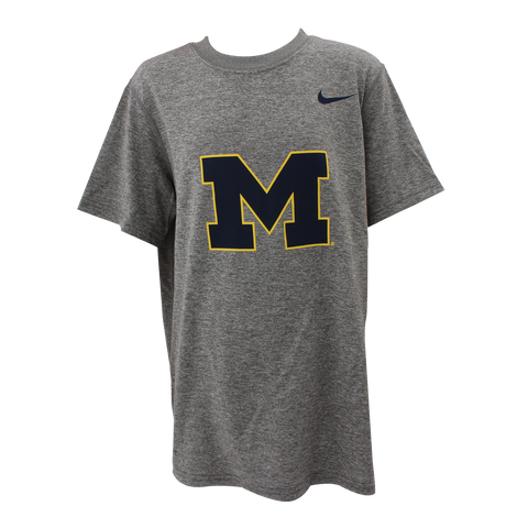 Nike University of Michigan Football Youth Legend Tee - Carbon Heather