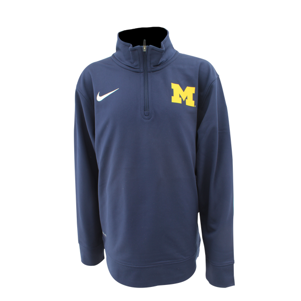 Nike University of Michigan Youth Navy Dri-FIT Performance 1/4 Zip Pullover