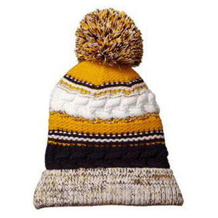 UM Pom Pom Team Beanie - Navy/Maize/White