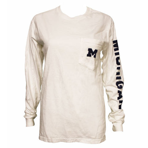 Michigan Long Sleeve Pocket Tee - White