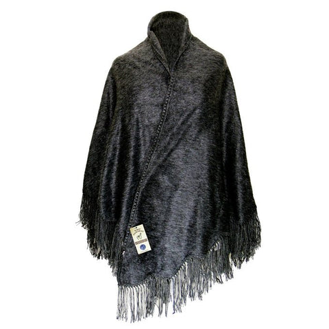 Peruvian Alpaca Wool Poncho Camargo Design with Fringed Edge Ultra-Soft