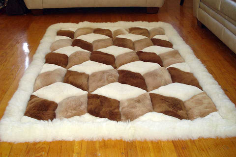 100% Alpaca Rug: Beautiful Cube Design