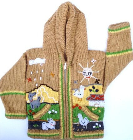 Child Peruvian Handmade Stitched Peruvian Arpillera Sweater