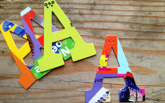Upcycled Board Book Letters