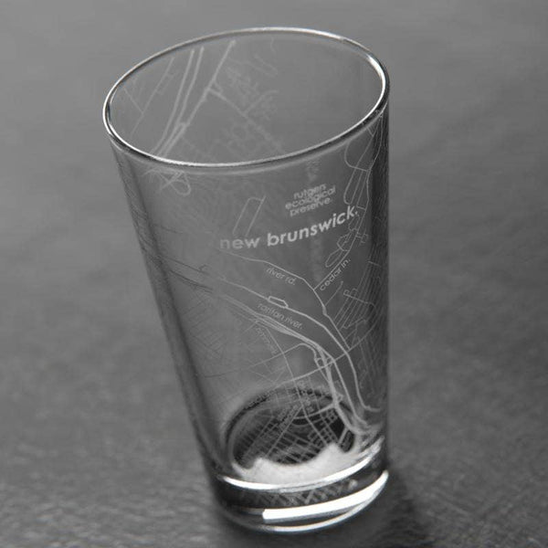 New Brunswick, NJ Map Pint Glass