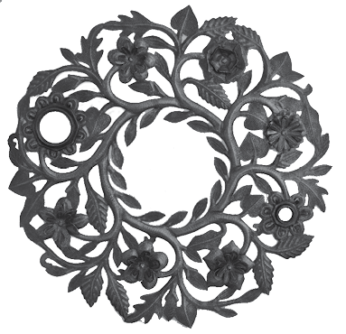 Lid Floral Wreath Metal Art - Through the Moongate and Over the Moon Toys