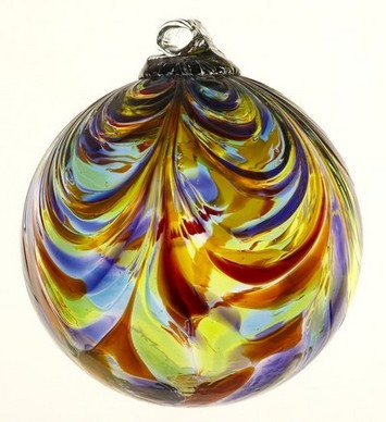 Feather Art Glass Ball 3""