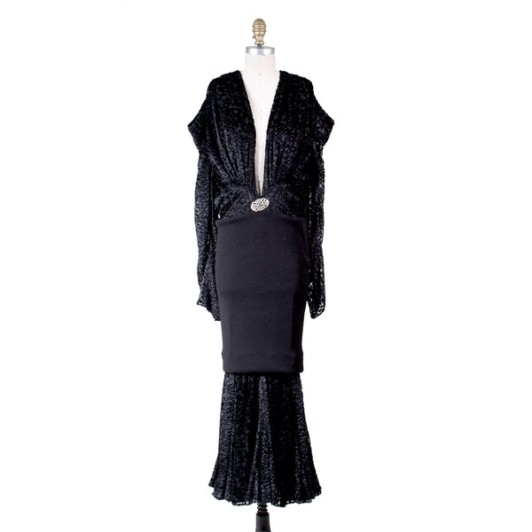Velvet and Knit Dress with Brooch, Fall 2002
