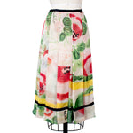 Pleated Silk Floral Skirt