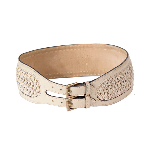 Leather Belt with Woven Detail