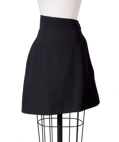 Wool Asymmetrical Skirt with Buckle