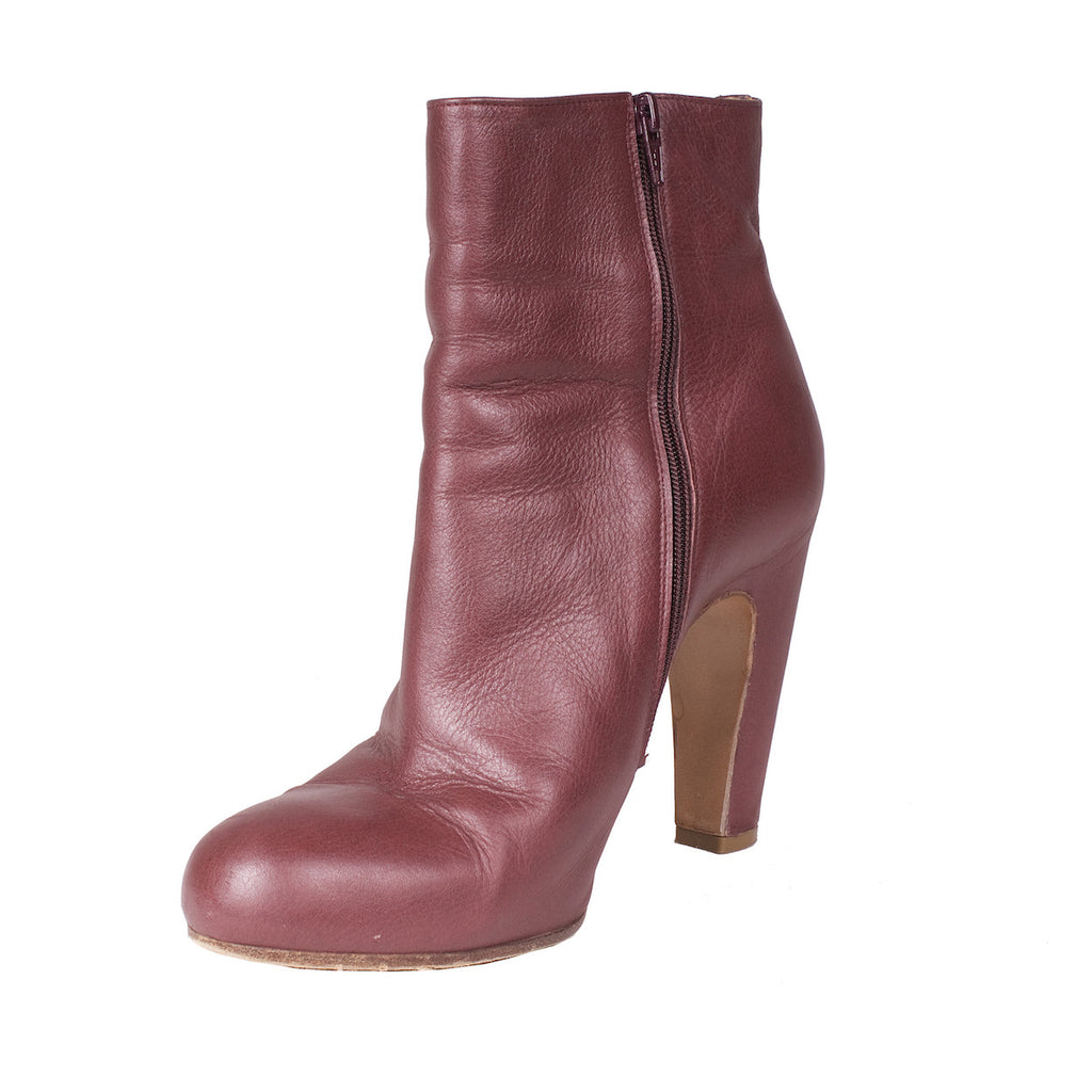 Maroon Leather Boots