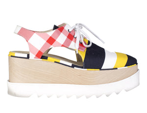 Canvas Platform Sneakers with Cut Out Panels