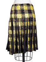 Sequins Plaid Skirt with Back Pleating