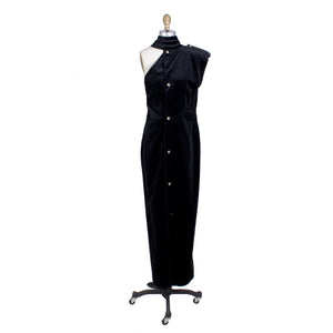 Black Velvet One Shoulder Gown with Collar, Fall 1983