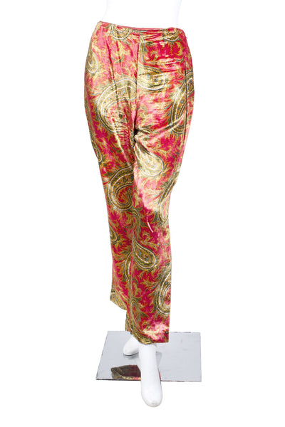 Velvet Pants and Jacket Set with Paisley Motif