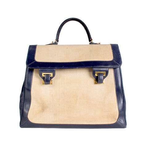Navy Leather and Toile Canvas Top Handle Bag