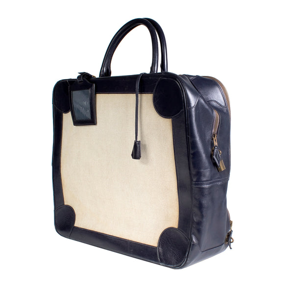 Omnibus Bag in Navy Leather Trim and Toile Canvas