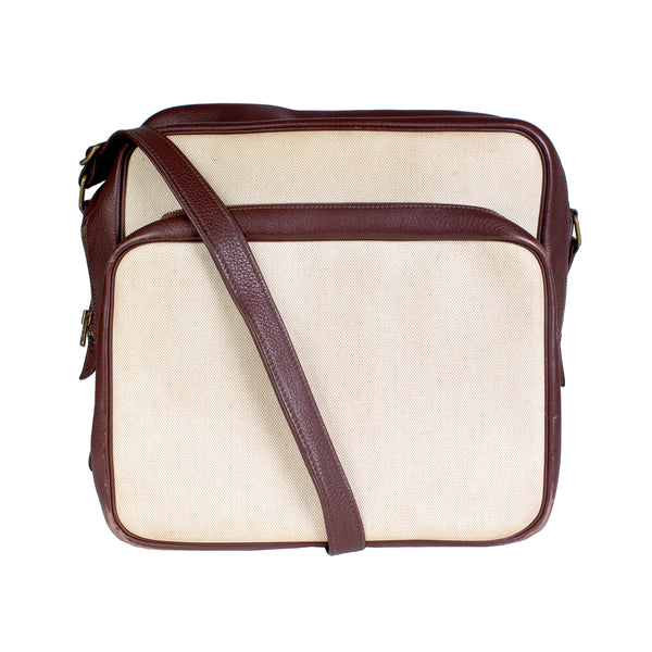 Helena Sac in Tobacco Leather and Toile Canvas