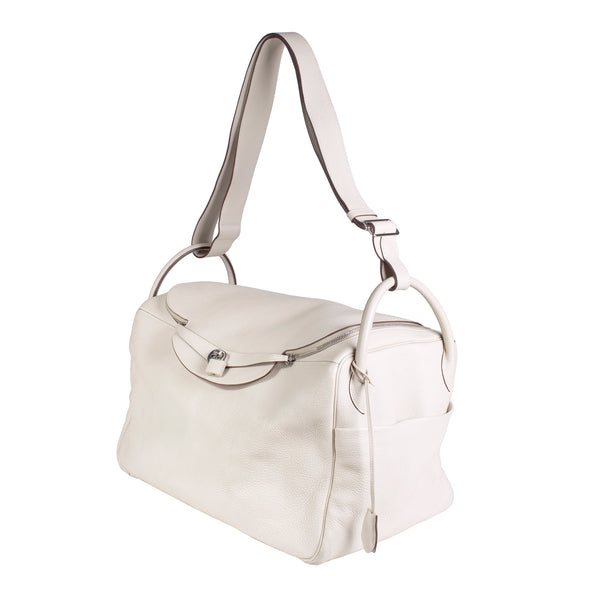 Lindy Cream Leather Shoulder Duffle Bag