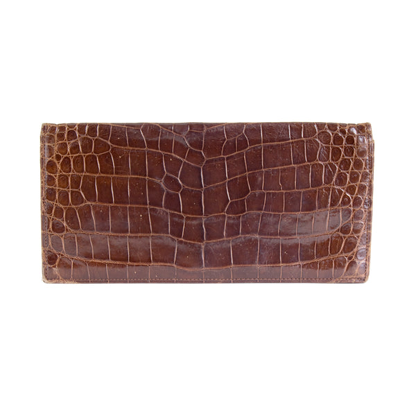 Brown Croc Thin Pouch with Chevron Close Tab