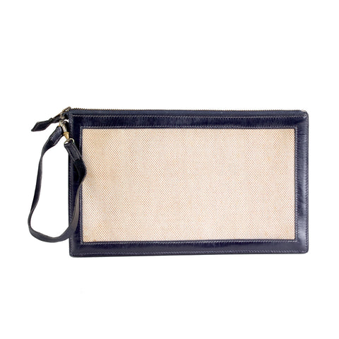 Navy Leather and Toile Canvas Zipper Wallet