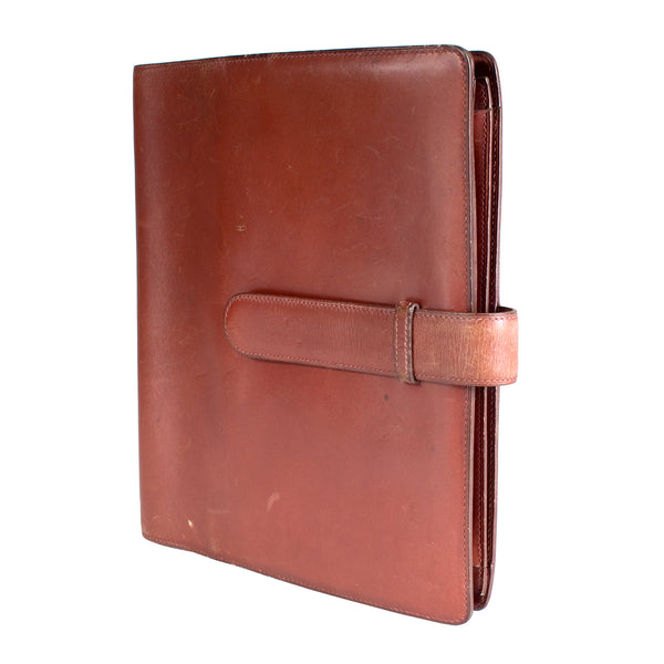 Large Cognac Leather Notebook with Strap Closure