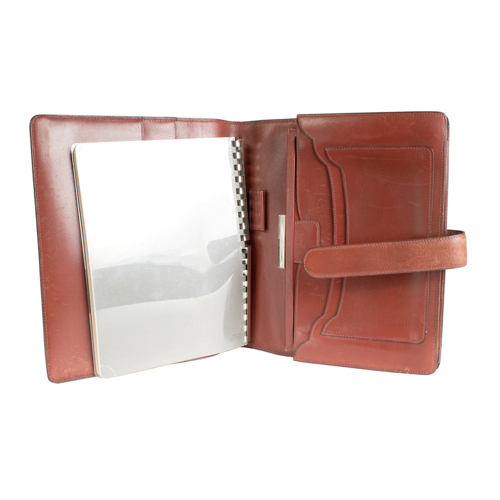 3918887ecf Large Cognac Leather Notebook with Strap Closure – Decades Inc.