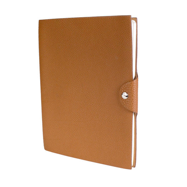 Tan Togo Leather Notebook with Snap Closure
