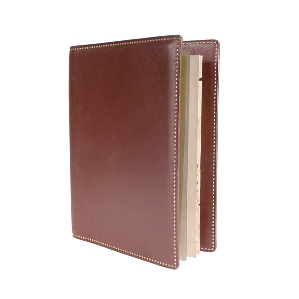Brown Leather Notebook with Trim Stitching