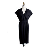 Vintage Black Linen Dress with Cap Sleeves