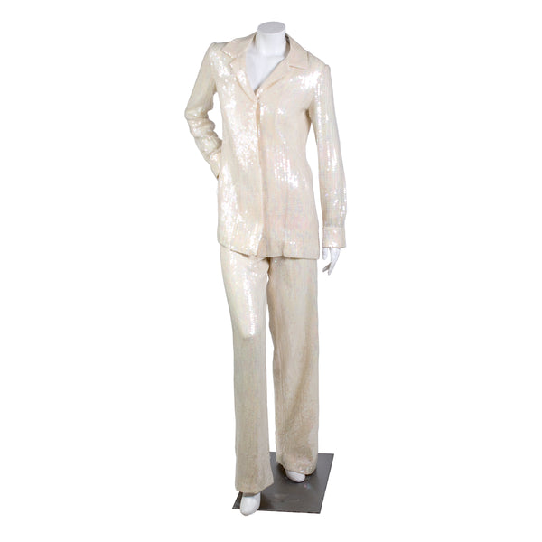 Vintage Iridescent Cream Sequin Jacket and Pants
