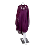 Vintage Plum Silk Goddess Dress with Sheer Cape