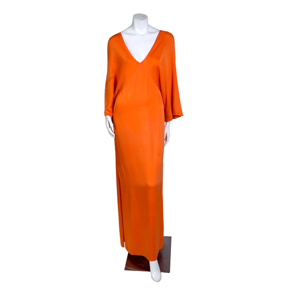 Vintage Orange Silk Dress with Batwing Sleeve