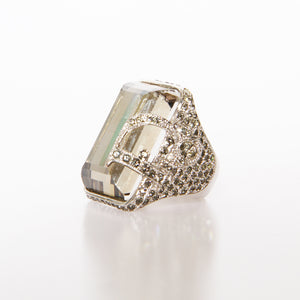 Silver Crystal Dior Cocktail Ring