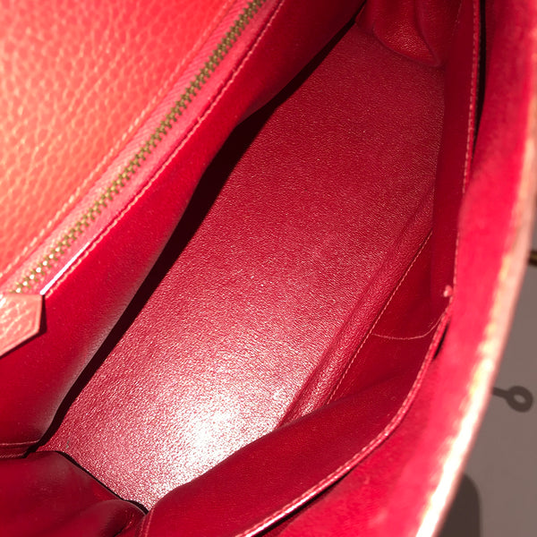 Hermés Red Kelly Handbag with Webbed Shoulder Strap