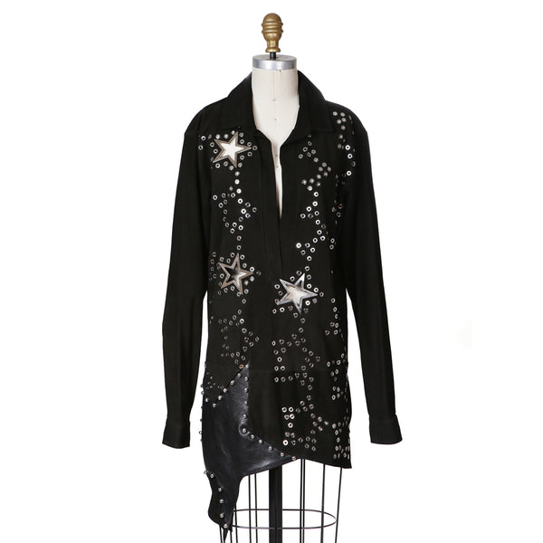Black Suede Tunic Dress with Grommets and Metal Star Cut-Outs