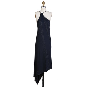 Navy Halter Dress with Beaded Cascades