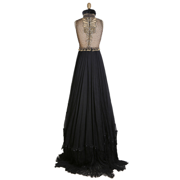 Vintage Sleeveless Gown of Chiffon and Beading
