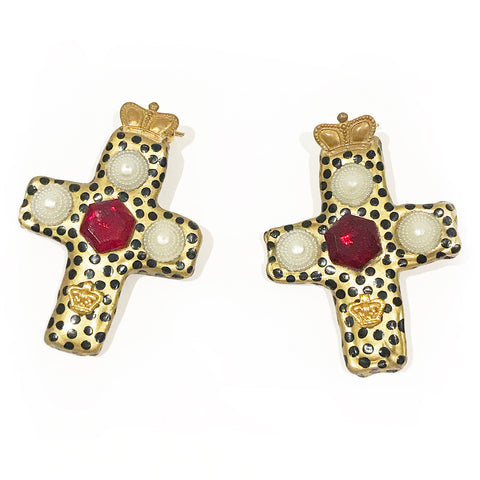 Billy Boy Ceramic Cross Earrings with Crown Detail