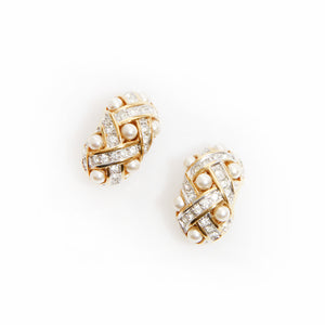 Diamond Pearl Clip On Earrings