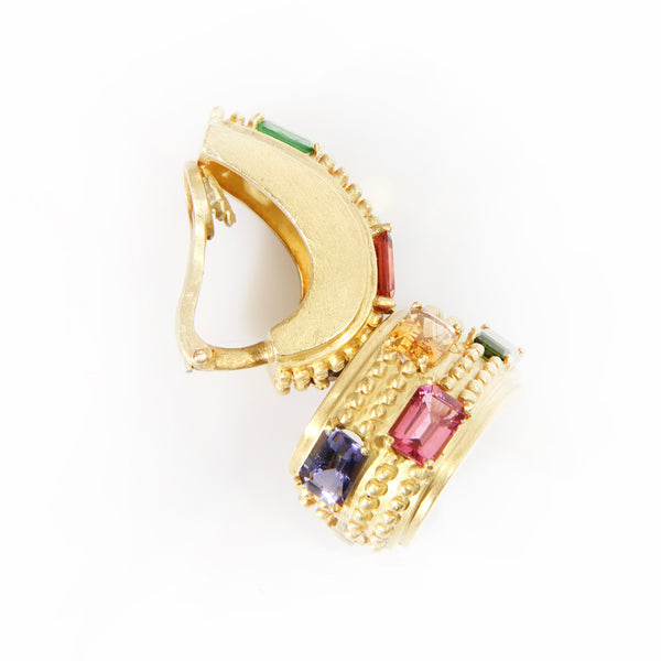 Multicolor gem earrings