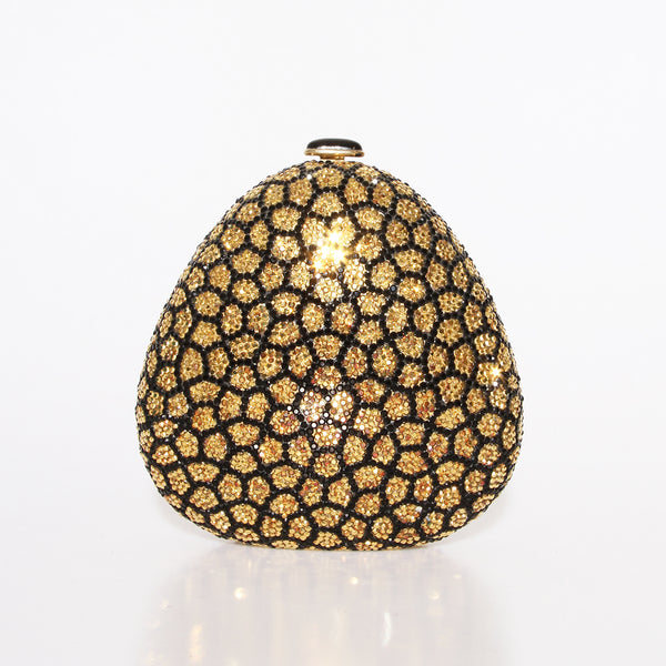 Gold Triangular Mosaic Crystal Clutch