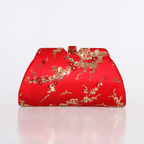 Red Cherry Blossom Crystal Clutch
