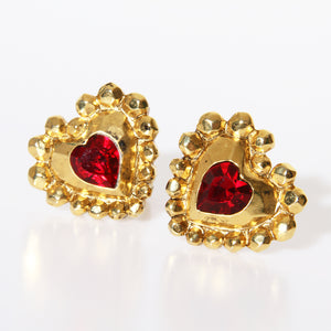 Ungaro Crystal Heart Clip On Earrings